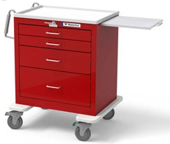 4 Drawer Short Steel Emergency Cart