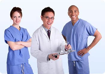 Doctor and staff